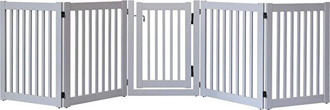 """product image for Dynamic Accents Amish Craftsman Highlander Series Solid Wood Pet Gates are Handcrafted 32"""" High - 5 Panel Walk Through/Pumice Grey"""
