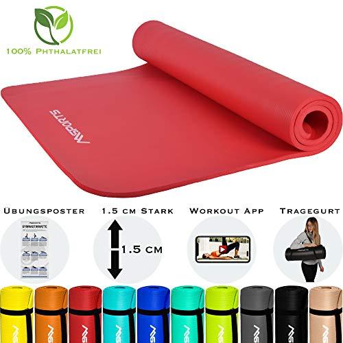 MSPORTS Gymnastikmatte Premium inkl. Tragegurt + Übungsposter + Workout App I Hautfreundliche Fitnessmatte 190 x 60 x 1,5 cm - Rubinrot - Phthalatfreie Yogamatte