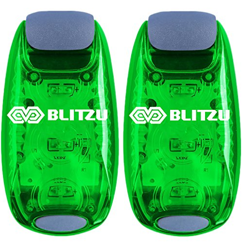 BLITZU Cyborg LED Safety Light 2 Pack + Free Bonuses - Clip On Running Lights for Runner, Kids, Joggers, Bike, Dogs, Walking The Best Accessories for Your Reflective Gear, Night time, Bicycle Green