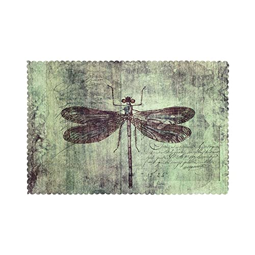 WANGJINGHUA Placemats Dragonfly Specimen Print Set of 4 Washable Heat Resistant Dining Table Place Mats for Dining Table 30X45CM