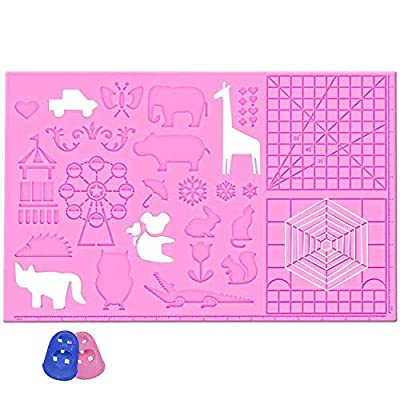 Dikale 3D Pen Silicone Mat Large Size, 3D Printing Pen Drawing Template with Basic Animal Patterns, 3D Drawing Accessories with 2 Finger Protectors, Gift for Kids & Adults, Pink
