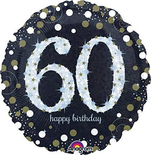 amscan 3213201 Folienballon 60 Sparkling Birthday, Schwarz, Silber, Gold