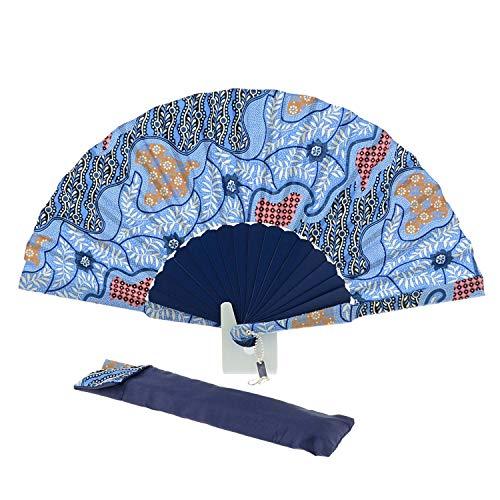 Abanico Artesanal Madera y Batik Español Talla: U Color: Azul