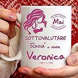 Tazza Veronica divertente. Adatta per colazione, the, tisana, caffè, cappuccino. Gadget tazza personalizzata: Mai sottovalutare una donna di nomeVeronica. Anche come idea regalo originale e simpatica