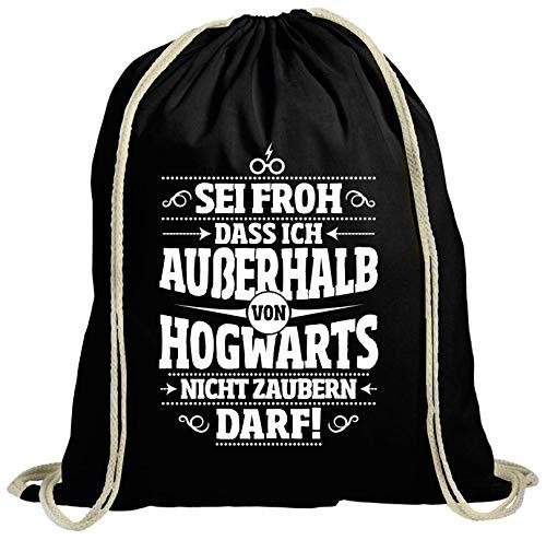 ShirtStreet Fanartikel Fan Kult Film natur Turnbeutel Rucksack Gymsac Außerhalb von Hogwarts, Größe: onesize,schwarz natur
