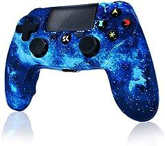 PS4 Mando Inalámbrico Dual Shock Gaming con Controlador Táctil de Alta Precisión para Sony Playstation 4/PS4 Pro/Slim/PC - Azul