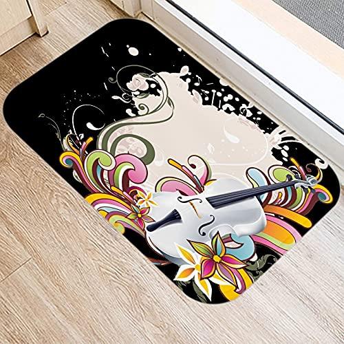 HLXX Music Pattern Kitchen Entrance Door Mat Coral Velvet Carpet Rubber Indoor Floor Mats Colorful Non-Anti-Slip Rug A24 40x60cm