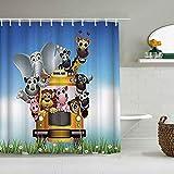 MANISENG Duschvorhang aus Polyestergewebe,Cartoon-Tiere nehmen Schulbusse Schweine Löwenbären,mit 12 dekorativen Badvorhängen aus Kunststoffhaken 72 x 72 Zoll