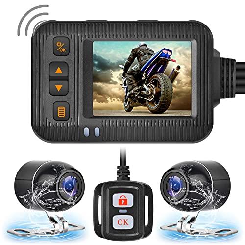 Brteyes Câmera de gravação HD 1080p dupla à prova d'água para todas as motocicletas, câmera frontal e traseira de motocicleta de 2 polegadas, visão noturna DVR, wi-fi, grande angular, gravador de direção, suporta cartão de 32 GB
