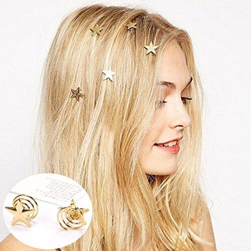 kentop 5 Pinces pour cheveux en Forme d'étoile Doré en Spirale pour fourche accessoire de coiffure