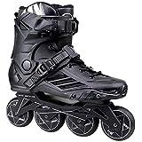 調整可能なインラインスケートクイックインラインローローラースケート調節可能サイズのスライディング障害物のプロフェッショナルな行アイススケートシューズシングルフラッシュ子供大人、2色、サイズ:35 EU / 4 US / 3 UK / 22.5cm JP、カラー:ホワイト (Color : Black, Size : 38 EU/6 US/5 UK/24cm JP)