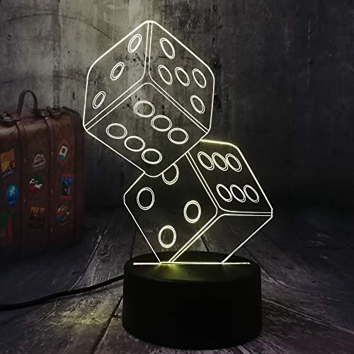 sanzangtang LED Night Light 3D-Vision-Seven Colors-Remote Control-Fun Dice Poker Card Game Party Night Light Table Sleep Light Living Room Decoration Gift