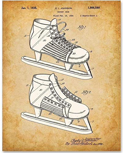 Hockey Skate - 11x14 Unframed Patent Print - Makes a Great Sports Bar Decor and Gift Under $15 for Hockey Players and Fans