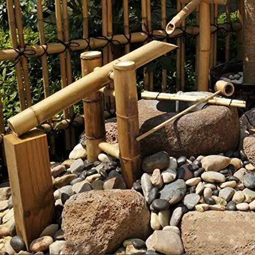 Fontaine en Bambou Jardin caractéristique de l'eau décor de Jardin avec Pompe Sculptures Statues décoration de la Maison Cascade extérieure Jardin Japonais caractéristique 65 * 70 cm