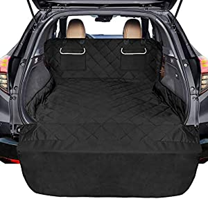 F-color SUV Cargo Liner for Dogs, Waterproof Pet Cargo Cover Dog Seat Cover Mat for SUVs Sedans Vans with 2 Large Pockets, Non-Slip, Large Size Universal Fit