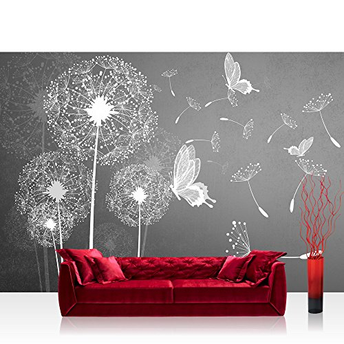 Fototapete 368x254 cm PREMIUM Wand Foto Tapete Wand Bild Papiertapete - Pflanzen Tapete Pusteblume Blume Pflanze Schmetterling Malerei grau - no. 1430