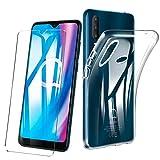 HYMY Hülle für Alcatel 1S 5028D (2020) + 1 x Schutzfolie Panzerglas - Transparent Schutzhülle TPU Handytasche Tasche Durchsichtig Klar Silikon Hülle für Alcatel 1S 2020 (6.22
