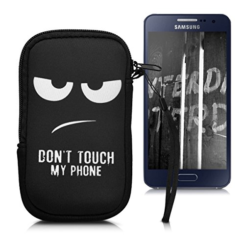 """kwmobile Funda Universal para móvil de M - 5,5"""" - Estuche de Neopreno con Cierre - Carcasa con diseño Don't Touch my Phone"""