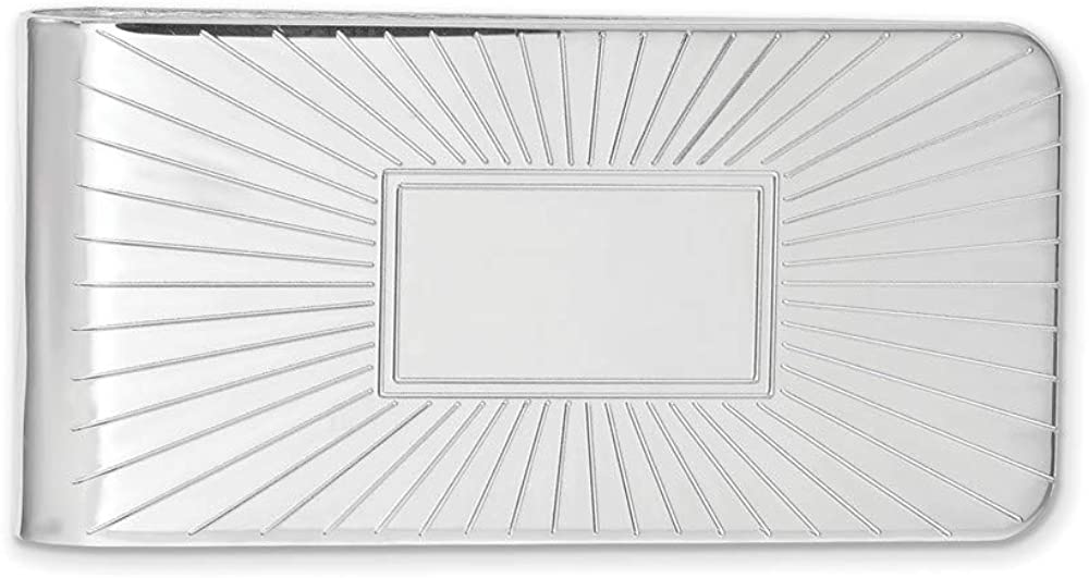 Solid Engravable Grooved Starburst Slim Business Credit Card Holder Money Clip 2.5