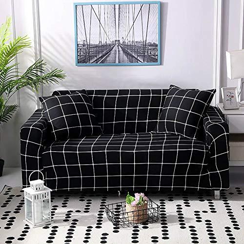 ASCV Funda de sofá a Cuadros Funda elástica Fundas de sofá para Sala de Estar Esquina sofá Toalla Funda de sofá Protector de Muebles A8 3 plazas