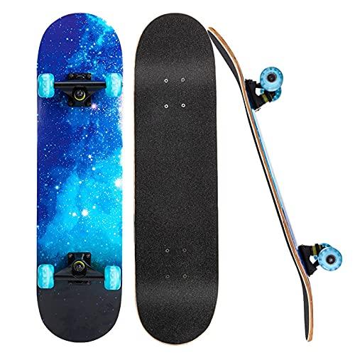 ZHBH Patinetas para Principiantes, Tablas de Skate Completas de 31'x 8' con Ruedas Luminosas LED, patinetas de Doble Cubierta de Arce Canadiense de 7 Capas para niños, Adolescentes y Adultos, AZ