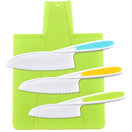 feihao Couteau De Cuisine Kids,Couteaux de Cuisine pour Enfants, Lot de 3 Couteaux de Cuisine en Plastique avec Lame dentelée, 1 Planche À Découper