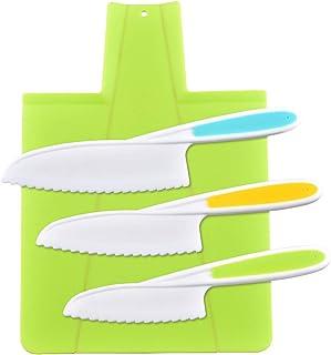 feihao Couteau De Cuisine Kids,Couteaux de Cuisine pour Enfants, Lot de 3 Couteaux de Cuisine en Plastique avec Lame dente...