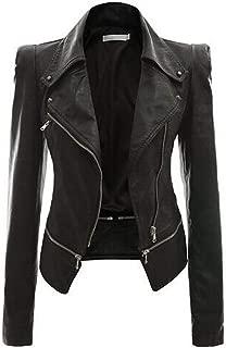 DISSA P802 Women Faux Leather Biker Jacket Slim Coat Leather Jacket