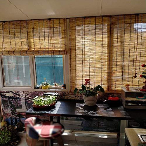 NMBC Transpirable Persianas Enrollables De Bambú Natural Persianas De Caña con Elevador para Puerta de Ventana Persianas de Paja Protección Solar Protección de Privacidad-1.2X2m/47X79in