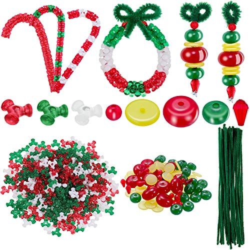 620 Pieces Christmas Beaded Ornament Kit, Christmas Craft Tri Beads Xmas Candy Canes Wreath Assortment Craft Bead Christmas Pipe Cleaners for Christmas Party Tree Hanging Decoration