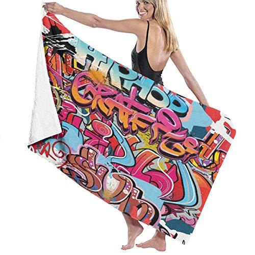 Toallas de baño súper Suaves suavidad,Hip Hop Street Culture Harlem New York City Wall Graffiti Art Spray Obra de Arte Imagen temática,Toallas de baño Grandes Ultra Absorbente 80x130CM