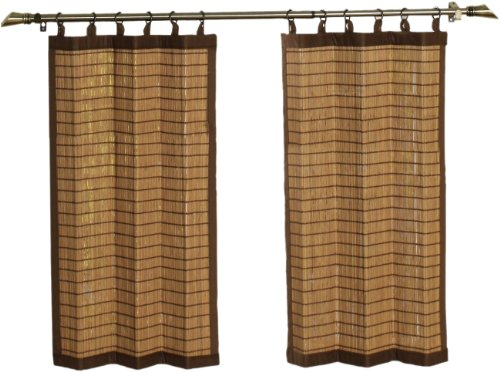 Bamboo Ring Top Curtain BRP07 2-Piece 48-Inch Wide x 36-Inch High Tier set, Colonial Brown