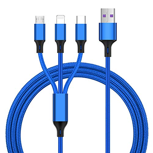 Multi Charging Cable 1.2M, USB Cable 3 in 1 Nylon Braided Multiple USB Fast Charging Cords Type C/Micro USB Connector for Phone X 8/7Plus, Galaxy S9, Huawei, LG, Tablets and More (Blue)