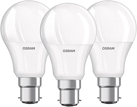 OSRAM LED BASE CLASSIC A / LED lamp, classic bulb shape, with bayonet base: B22d, 9.50 W, 220…240 V, 60 W replacement, frosted, 2700 K, 3pack