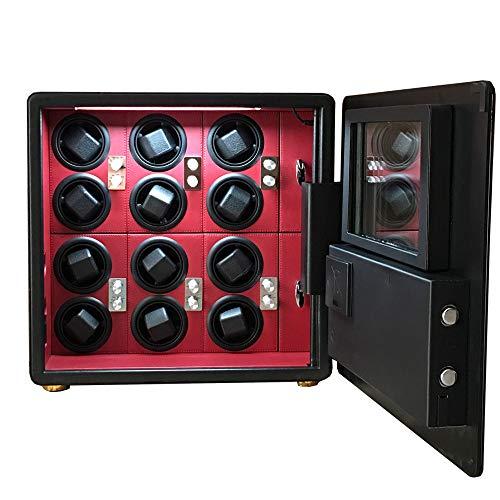 2017 Caja de seguridad de la bobina del reloj LCD automático enrollador 12 pantalla Caja de seguridad Cuero envuelto (cuero de microfibra negra)