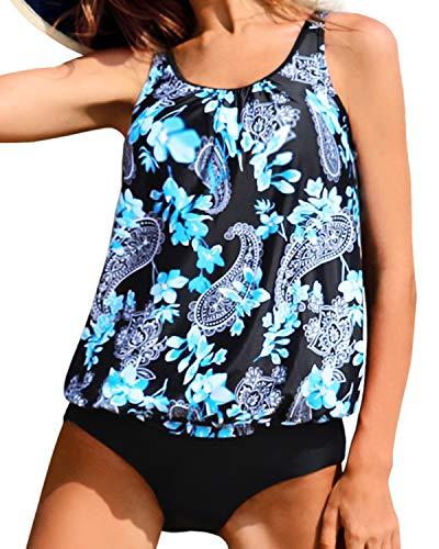 Yonique Blouson Tankini Swimsuits for Women Modest Bathing Suits Two Piece Loose Fit Swimwear Black Paisley XL