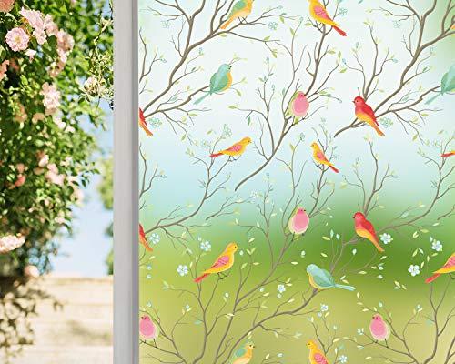 Coavas Sichtschutz-Fensterfolie, nicht klebend, durchscheinend, dekorative Glasfolie, Statische Frischhaltefolie, Vogel-Fensteraufkleber für GF-WF-90-2B Home Office, 45 x 200 cm, durchscheinend