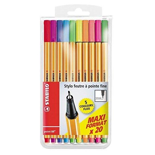Stabilo de 20bolígrafos Fieltro Point 88, tamaño Maxi