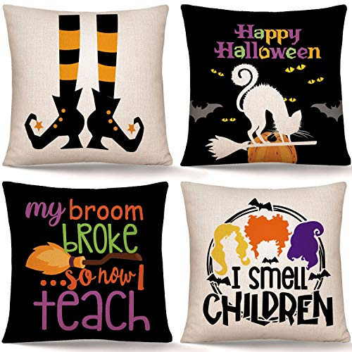 Whaline Happy Halloween Pillow Cover Halloween Witch Pillow Case Scary Throw Cushion Cover Linen Cushion Cases for Home Office Halloween Sofa Bed Decoration, 18' x 18' (4Pcs)