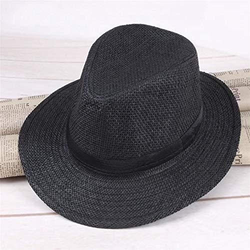 YSJJQSC Sonnenhüte für Herren aus Stroh, Panamahut, handgefertigt, Cowboy-Mütze, Sommer, Strand, Reisen, Sonnenhut (Farbe: schwarz)