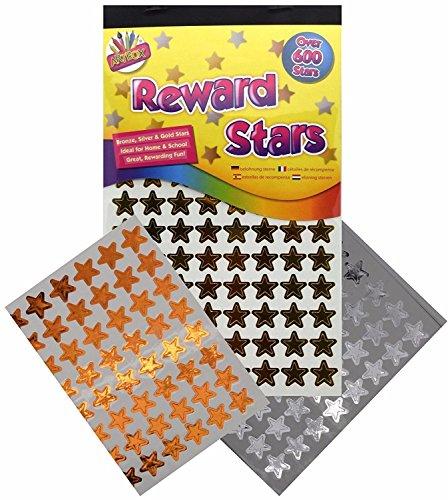 900 x Reward Star Stickers Silver Gold Bronze Home School Teacher Good Work by Tallon