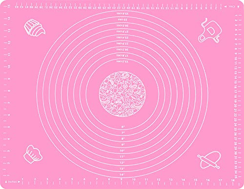 Silicone Pastry Mat for Rolling Dough Non Slip Extra Large, Nonstick Pastry Baking Mat with Measurements, Silicone Dough Rolling Mat with Dough Scraper (20' x 16', Pink)