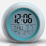 TKSTAR - Reloj despertador luminoso de viaje, alarma, 7 colores y 6 sonidos de naturaleza, luz de noche, lámpara de mesa, pantalla de temperatura interior para padres estudiantes