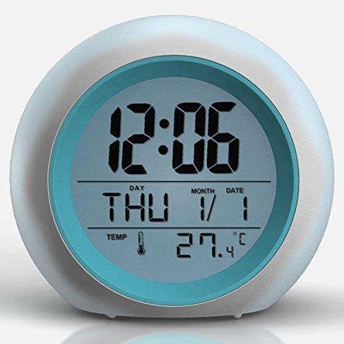 TKSTAR Réveil Lumineux réveil de Voyage Alarm Clock 7 Couleurs et 6 Sons de Nature Lumière de Nuit Lampe de Table Affichage de Température Intérieure pour Parent Étudiant