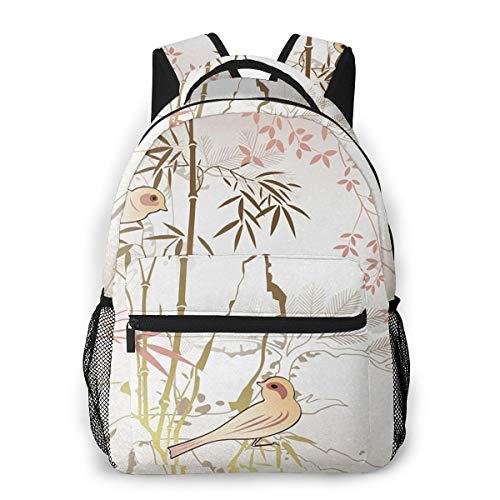 Rucksack Männer und Damen, Laptop Rucksäcke für 14 Zoll Notebook, Bambusbaum 37 Kinderrucksack Schulrucksack Daypack für Herren Frauen