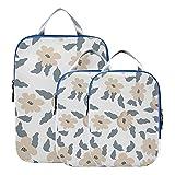Cubos de embalaje de viaje Flores casuales Accesorios de viaje pequeños y bonitos gratis para equipaje Cubo de embalaje de compresión expandible para equipaje de mano, viaje (juego de 3)
