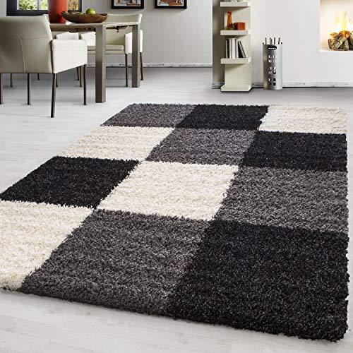 Teppich Hochflor Shaggy Teppich kariert Teppich farbecht Pflegeleicht, Farbe:Schwarz, Maße:60 cm x 110 cm