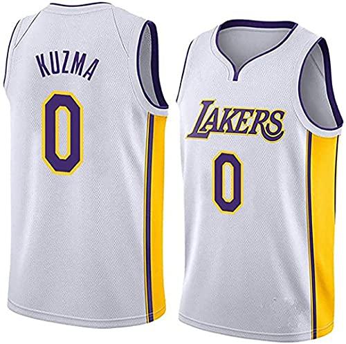 JKHKL Camiseta De Baloncesto para Hombre, Lakers # 0 Camiseta De Baloncesto Kuzma, Camiseta Unisex Sin Mangas Y Transpirable Camiseta Deportiva L White