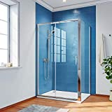 ELEGANT 1000 x 700 mm Sliding <span class='highlight'>Shower</span> Enclosure 6mm Safety Glass Reversible Bathroom Cubicle Screen Door with Side Panel
