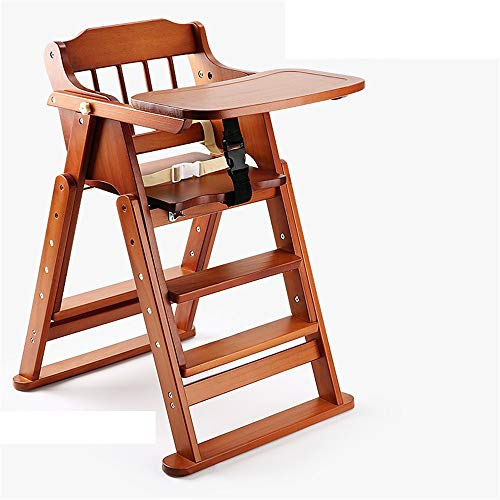 Cheap Highchair Natural Wood Portable Folding Baby Snack Booster Seat Eating Highchair With Trolley ...